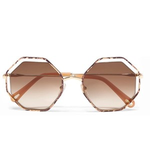 bdc762491755 Chloé Poppy  Octagon Frame Snake-effect acetate and gold tone sunglasses