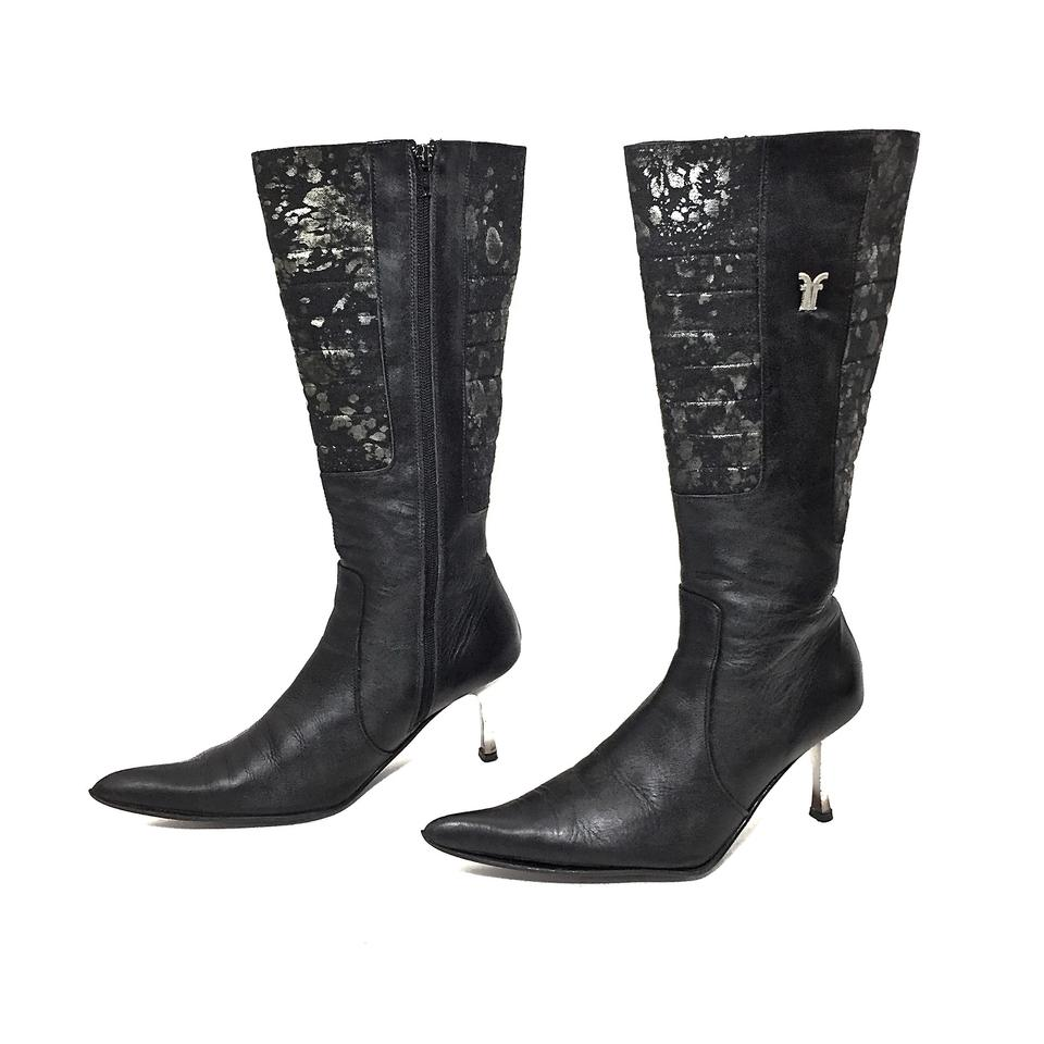 127cbf4a6812d3 Frye Black   Gray Leather Patterned Canvas Knee High W  Silver Heels Boots  Booties