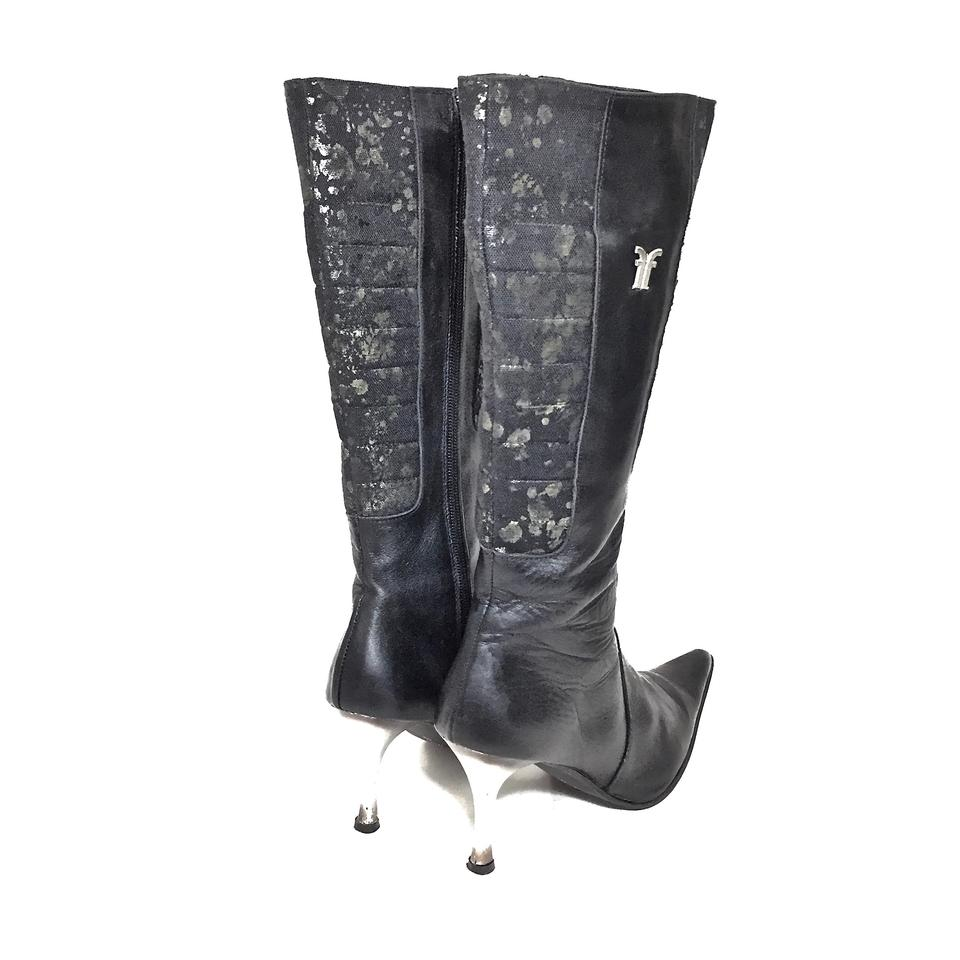 7c9abc20e610a2 Frye Black   Gray Leather Patterned Canvas Knee High W  Silver Heels ...