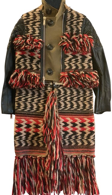 Item - Olive Multi Colored Leather Wool and Knit Coat Size 2 (XS)