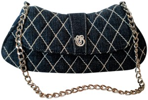 Vera Bradley Denim Quilted Silver Chain Monogram Blue Clutch