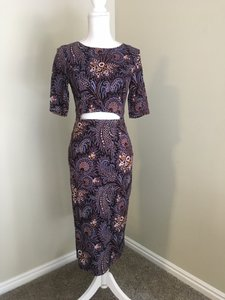 SUNO Cut Out Purple Paisley Floral Modern Dress