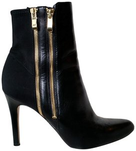 White House | Black Market Leather Stiletto Black with Gold Double Zippers Boots