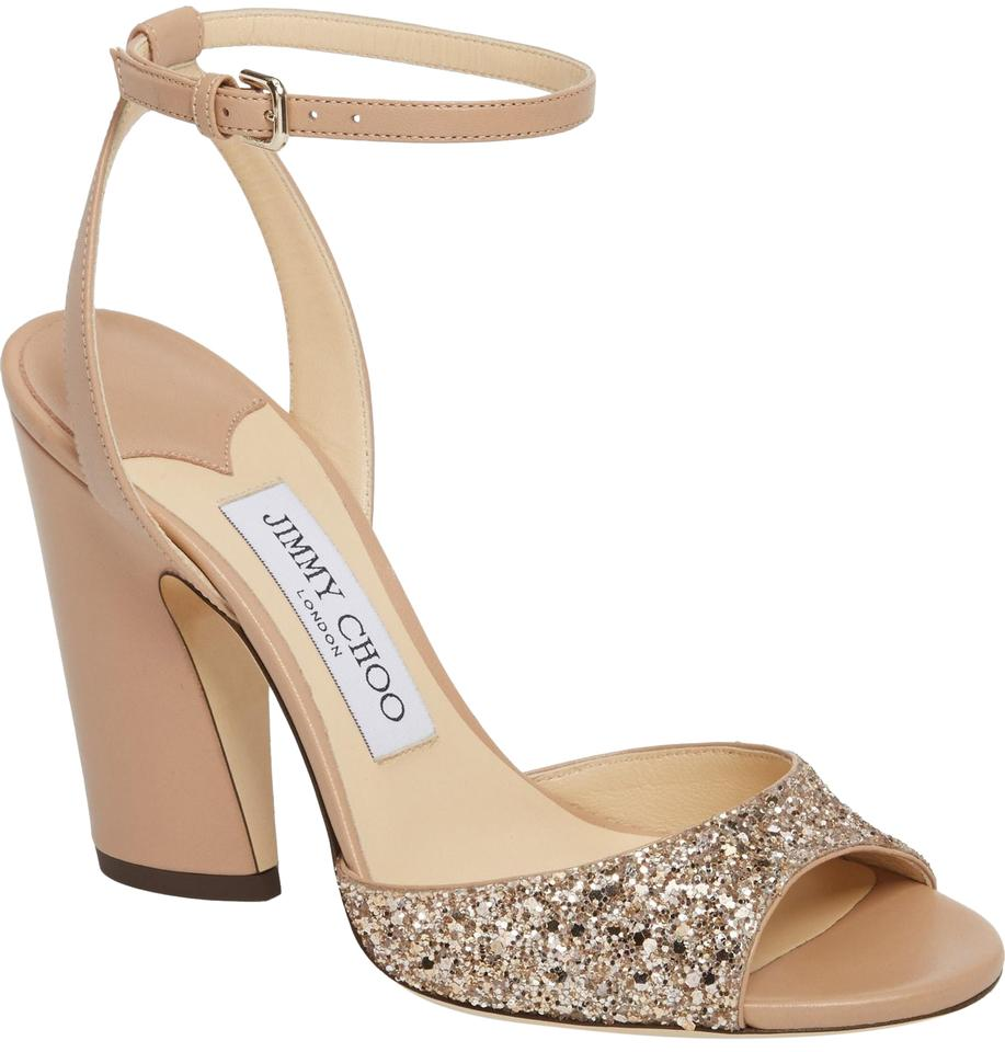 d1b2f2095b2c Jimmy Choo Ballet Pink New Miranda Statement Glitter Sandals Size EU 38.5  (Approx. US 8.5) Regular (M