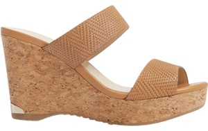 Jimmy Choo Parker Wedge Sandals Tan Embossed Mules