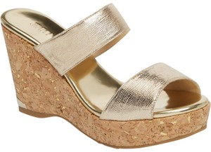 Jimmy Choo Parker Wedge Sandals 39 Gold Mules