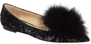 Jimmy Choo 37.5 Gale Fur Black Flats