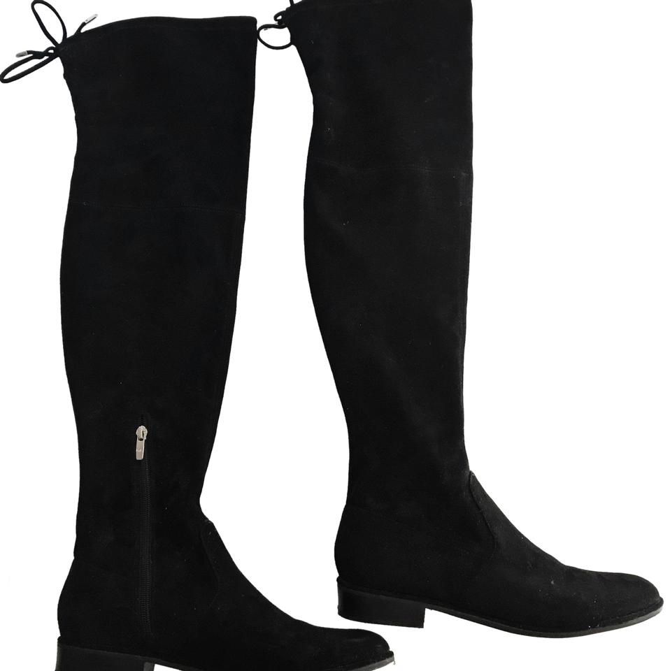 22a13bfade94 Marc Fisher Black Silver Zipper Humor Flat Over The Knee Boots Booties