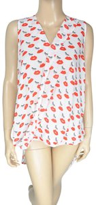 Ro & De Kisses Eye Lashes Red Polka Dot Polyester Top White