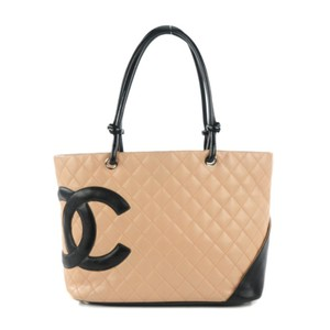 Chanel Calfskin Quilted Tote in Beige