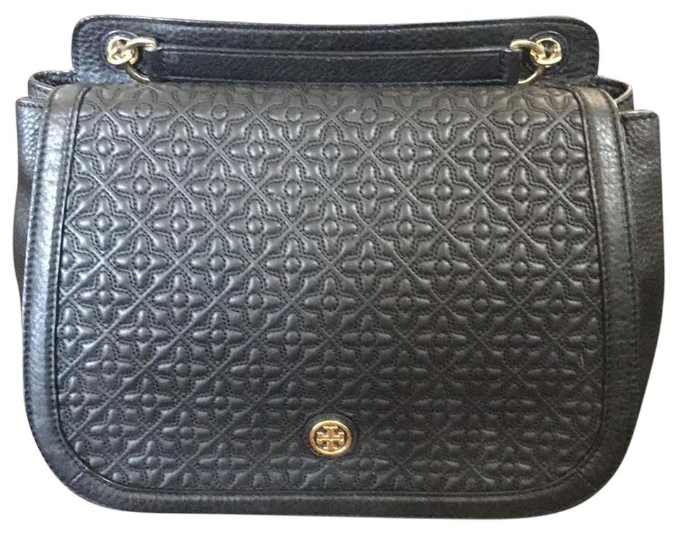 02e55ac5b43 Tory Burch Bryant Quilted Combo Crossbody Black Leather Shoulder Bag ...