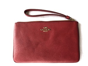Coach Crossgrain Leather Wallet Large Wristlet in Red