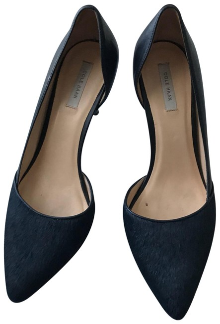 Item - Dark Blue D'orsay Style Leather and Cow Hair Heels. Pumps Size US 7.5 Regular (M, B)