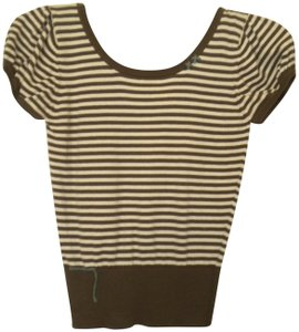 Project E Brown/White Striped Short Sleeve Back Ties Sweater