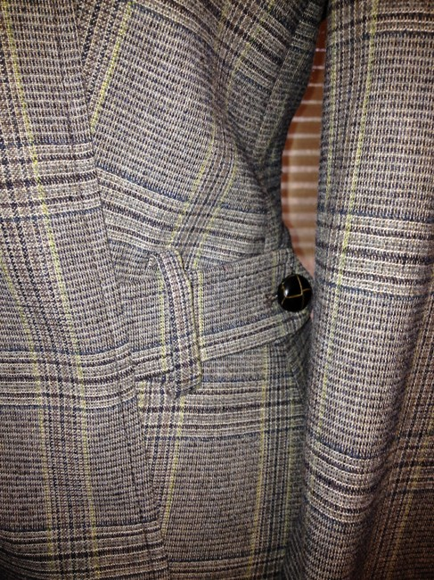United Colors of Benetton Tweed Elbow Patch Wool Leather Brown Blazer