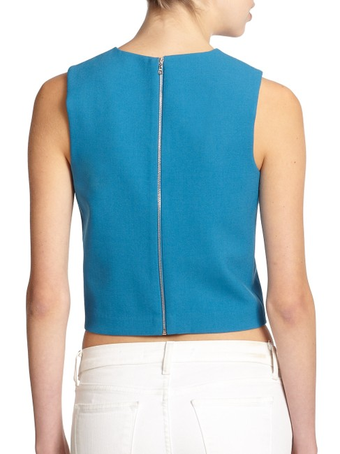 Theory Zipper Cropped Work Top Blue