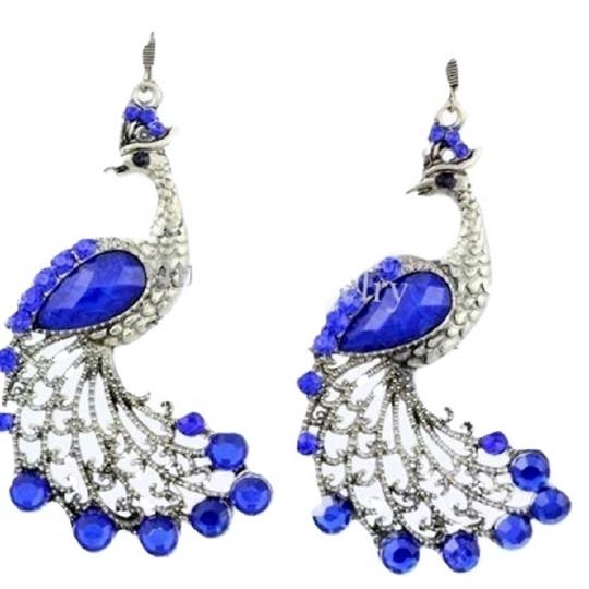 Nathalie's Things Gorgeous Blue Gemstone Peacock Earrings, Blue