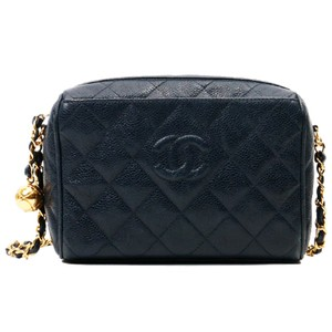 Chanel Vintage Quilted Caviar Leather Shoulder Bag