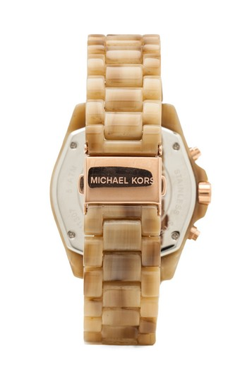 Michael Kors Champagne Bradshaw Chronograph Dial Horn Acetate Ladies Mk5840 Watch#5
