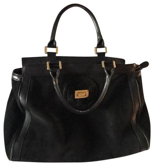 Preload https://img-static.tradesy.com/item/24220099/tory-burch-and-suede-handbag-black-leather-satchel-0-1-540-540.jpg