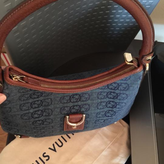 Gucci Pelham Sukey Soho Leather Tote in BLUE BROWN