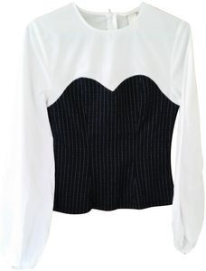 H&M Top Navy pin stripe bustier on white shirt