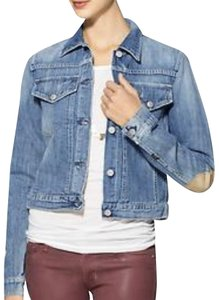 Citizens of Humanity Distressed Elbow Patch Suede blue Womens Jean Jacket