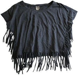 Haute Hippie Fringe Casual T Shirt Gray