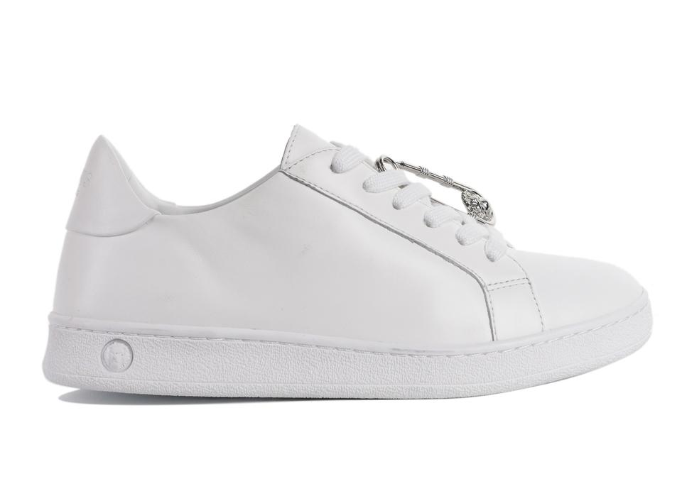 57d4b661e4 Versace White Versus Womens Leather Safety Pin Lace Up Sneakers C2606  Sneakers. Size  US 5 ...