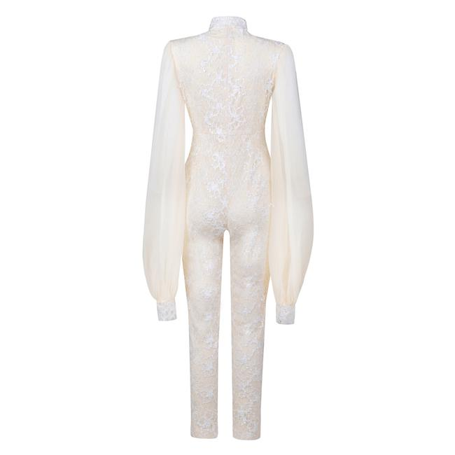 DIOR BELLA My Lady Ivory Lace Puff Sleeve Jumpsuit