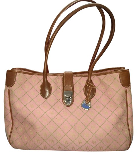 Preload https://img-static.tradesy.com/item/24220329/dooney-and-bourke-pinkgreen-stitching-canvas-and-leather-tote-0-1-540-540.jpg