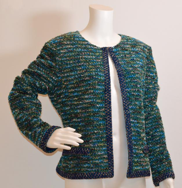 St. John Couture Tweed Boucle Green/Blue/Turquoise Jacket