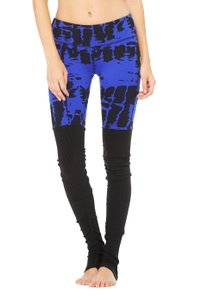 Alo Alo Yoga Goddess Legging Electric Blue Tie Dye Black