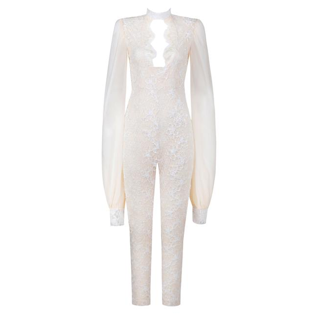 Preload https://img-static.tradesy.com/item/24220344/ivory-my-lady-lace-puff-sleeve-jumpsuit-pant-suit-size-8-m-0-0-650-650.jpg