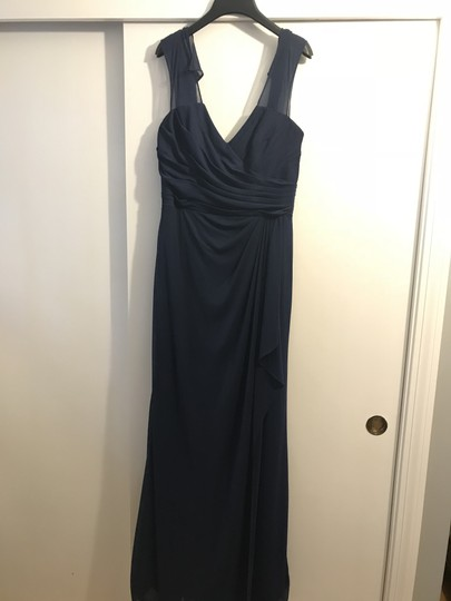 Alfred Angelo Navy Style 7412 Formal Bridesmaid/Mob Dress Size 8 (M)