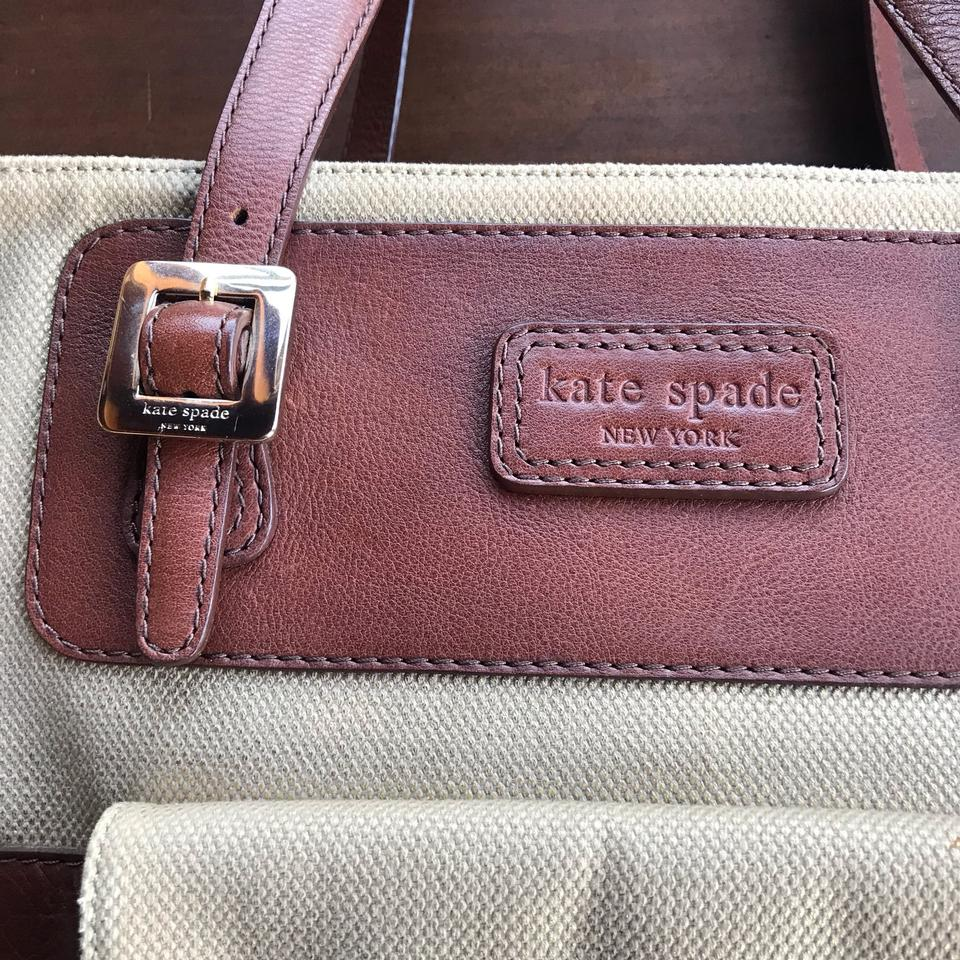 76f5ecebb31b Kate Spade Canvas Two Side Pocket Satchel Brown and Gold Tan Leather ...