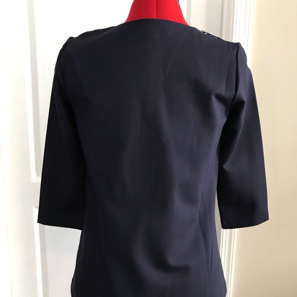 Boden Navy 3/4 Length Sleeves with Anchor Shoulder Buttons  Blouse Size 4  (S)