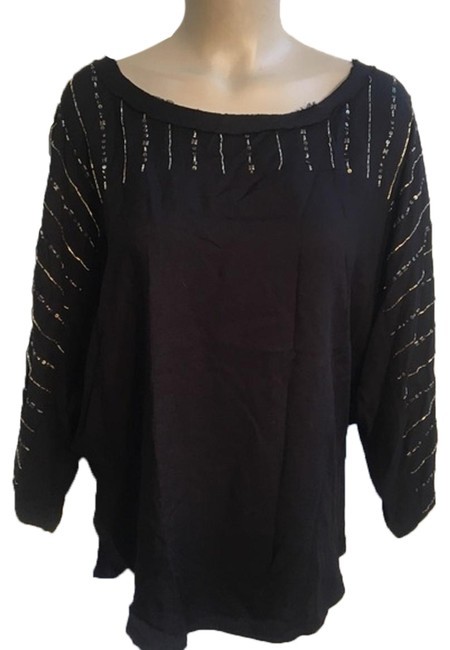 Preload https://img-static.tradesy.com/item/24220385/ella-moss-black-sequin-trim-blouse-size-8-m-0-1-650-650.jpg