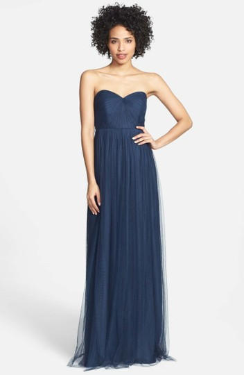 Jenny Yoo Navy Tulle Annabelle Convertible Column Formal Bridesmaid/Mob Dress Size 8 (M)