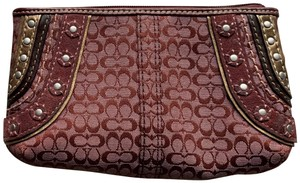 Coach Leather Seude Shoulder Monogram Purple Wristlet in Burgundy