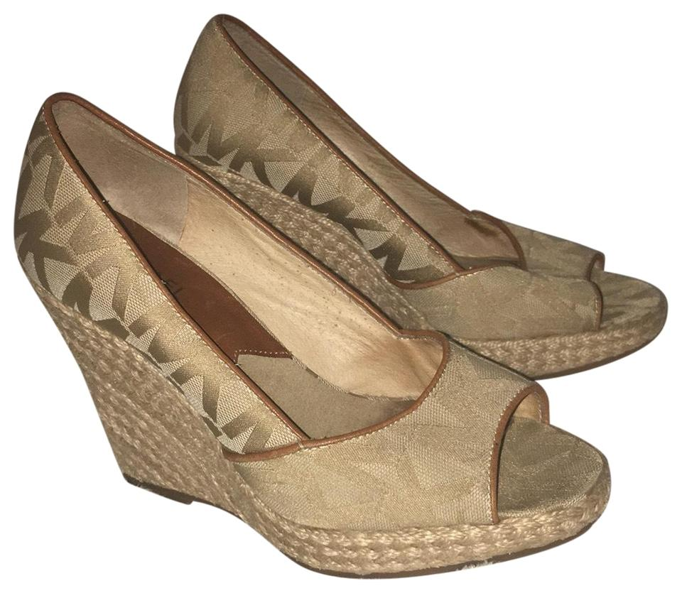 90e40044fe9 Michael Kors Gold and Ligand Brown Peep Toe Espadrilles Wedges Size ...