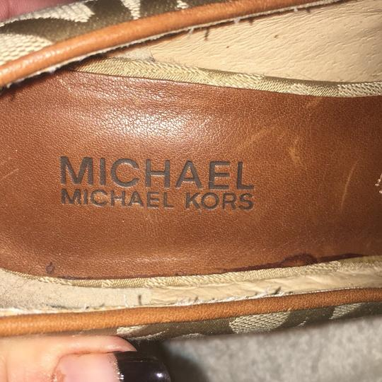 Michael Kors gold and ligand brown Wedges