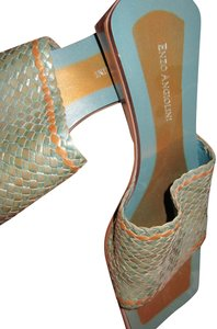 Enzo Angiolini Brazil Woven Leather Nwot Teal Blue Green Sandals
