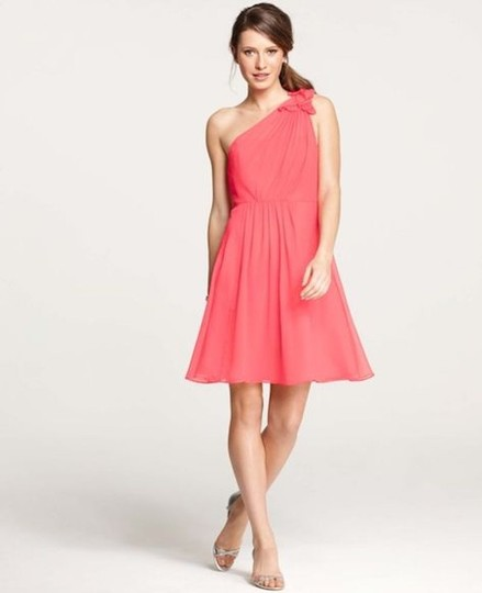 Ann Taylor Coral Silk Georgette Flower One Shoulder Feminine Bridesmaid/Mob Dress Size 6 (S)