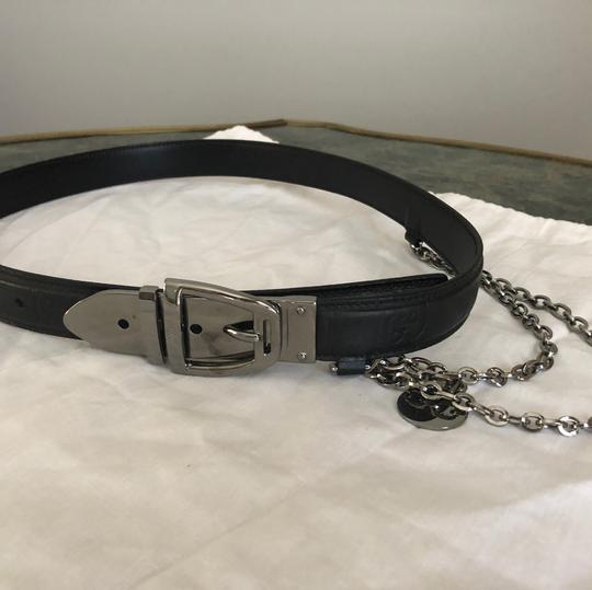 Gucci Monogrammed Gucci black leather w/chain belt