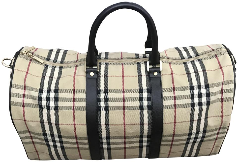 74f0a4a12e07 Burberry Haymarket Duffle Weekend Travel Brown Coated Canvas with ...