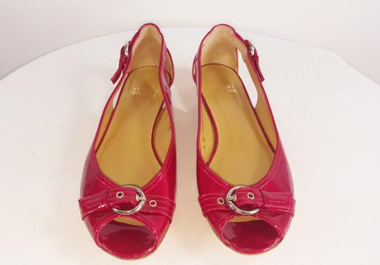 Stuart Weitzman Patent Leather Buckle Peep Toe Fall red Flats