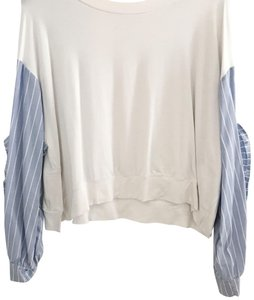 Zara Top white + light blue