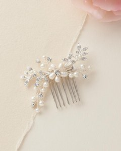 Silver Floral Freshwater Pearl Comb Brooch/Pin