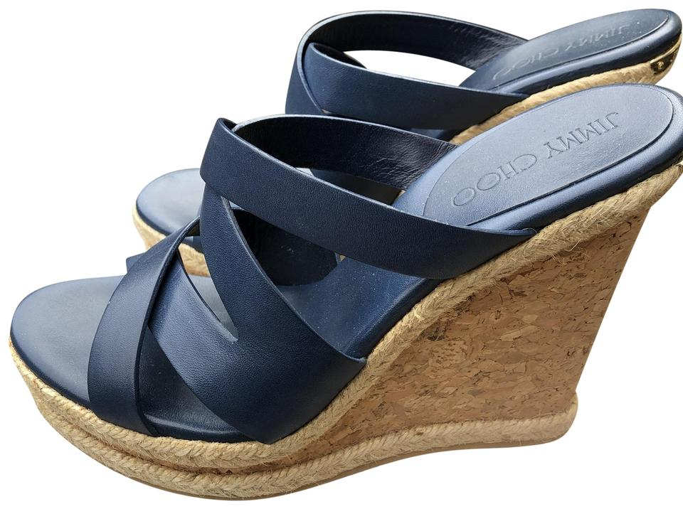 4ec9f00b48f Jimmy Choo Blue Cork Wedge Sandals Mules/Slides Size US 9.5 Regular (M, B)  41% off retail